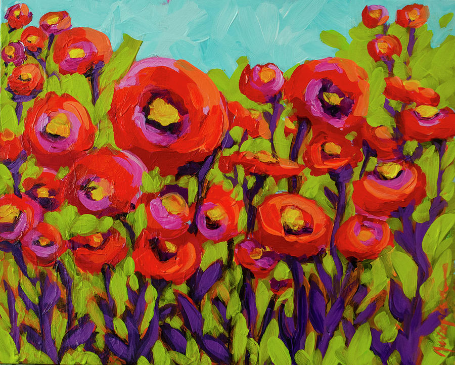 Let's Play together - Vibrant Poppy Field Artwork by Patricia Awapara