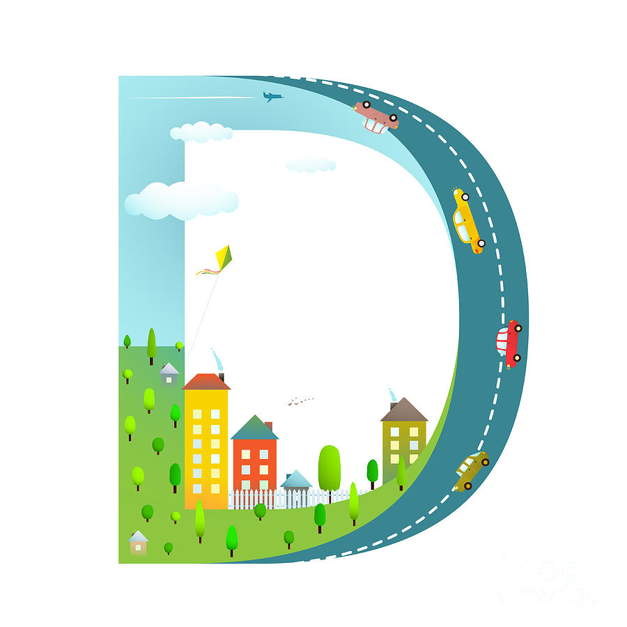Symbol Digital Art - Letter D Of The Latin Alphabet Funny by Popmarleo