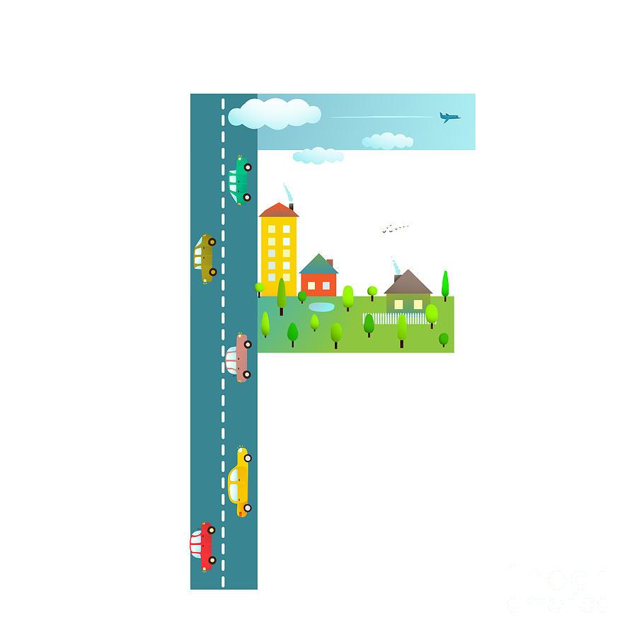 Symbol Digital Art - Letter F Of The Latin Alphabet Fun Kids by Popmarleo