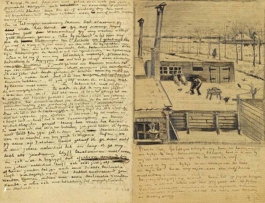 b1b865136062 Vincent Van Gogh Painting - Letter From Vincent Van Gogh To Theo Van Gogh  With Sketch