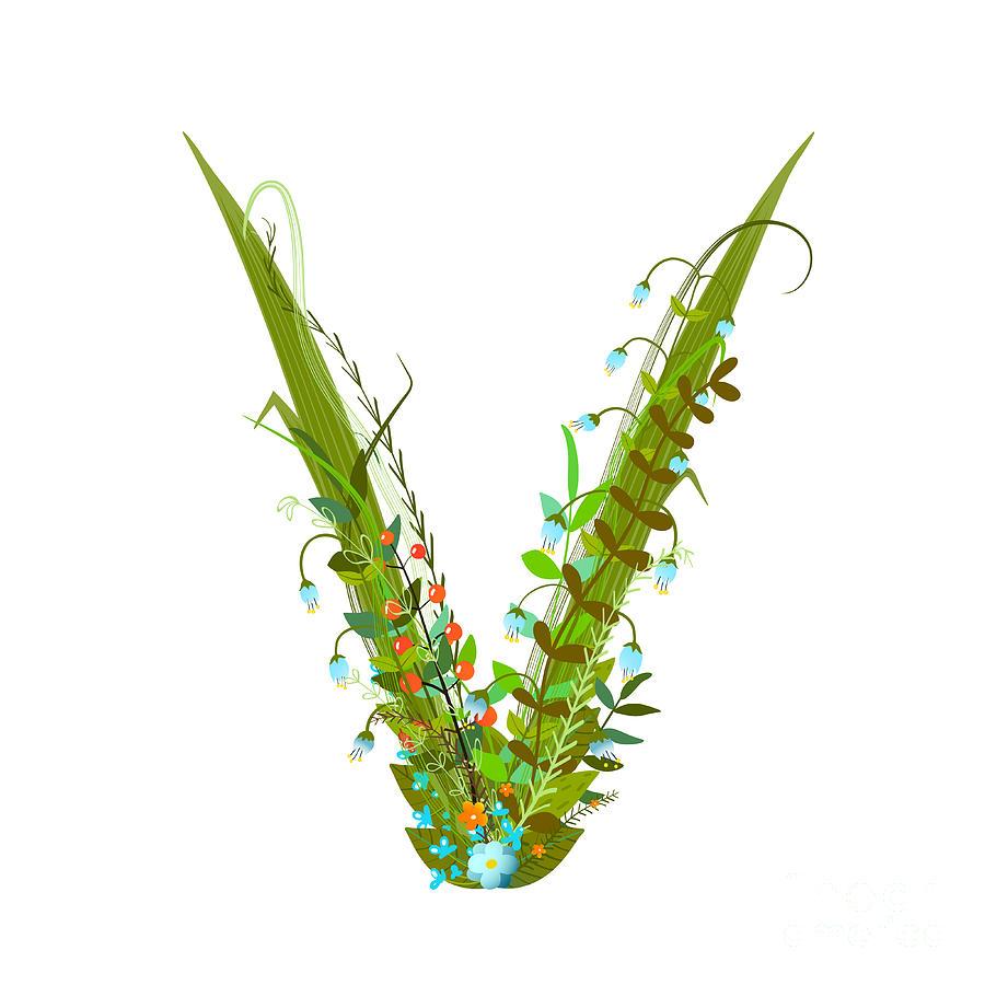 Delicate Digital Art - Letter V Floral Decorative Character by Popmarleo
