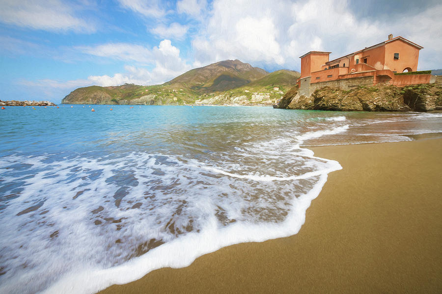 Levanto Cinque Terre Italy Beach Painterly by Joan Carroll