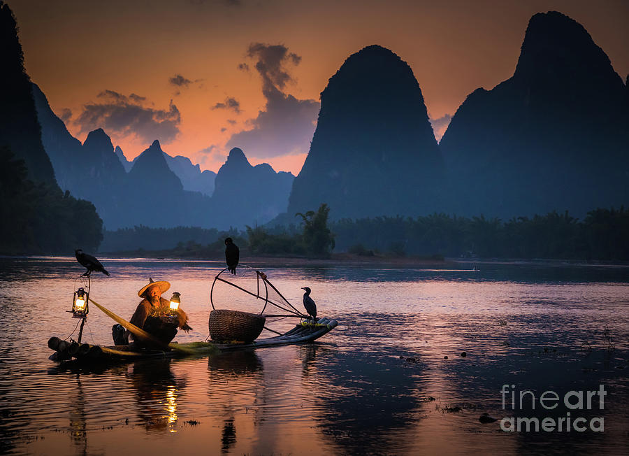 Asia Photograph - Li River Twilight Glow by Inge Johnsson