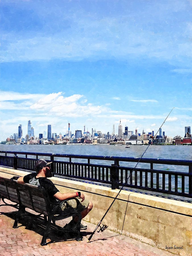 Liberty State Park - Man Fishing by Susan Savad