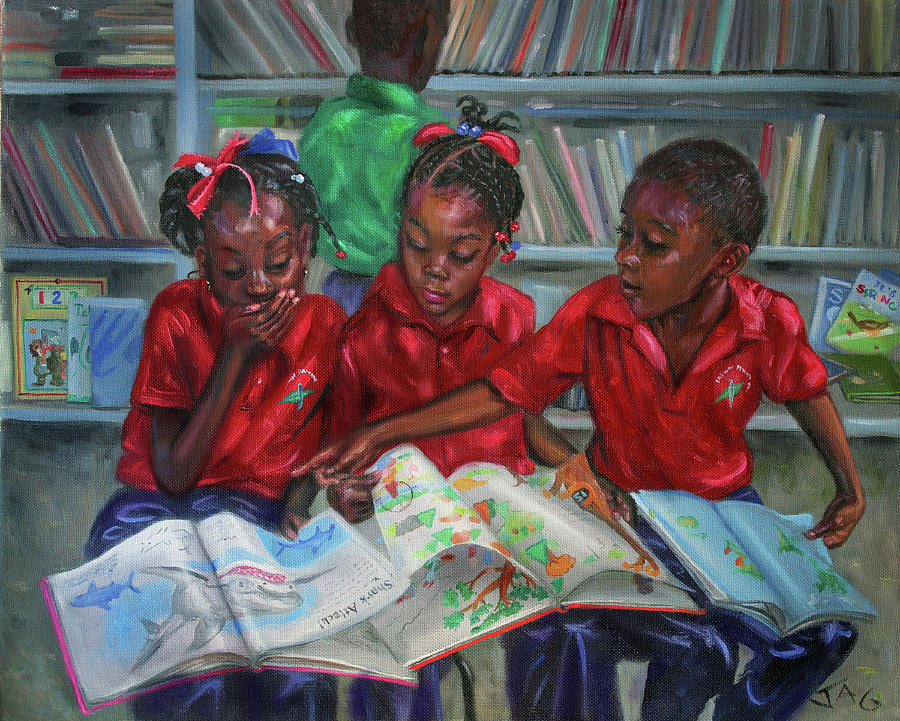 Library Painting - Library by Jonathan Guy-Gladding JAG