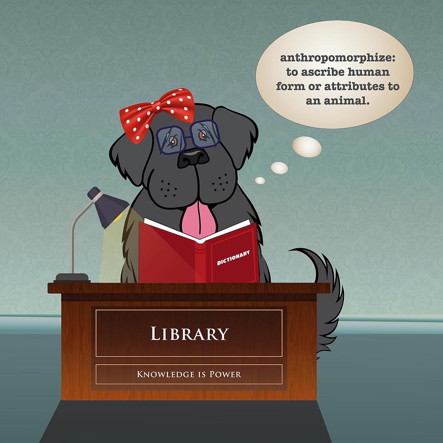 Newf Digital Art - Library Newfie by Christine Mullis