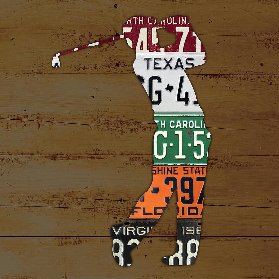 License Plate Mixed Media - License Plate Golfer Art Custom by Design Turnpike
