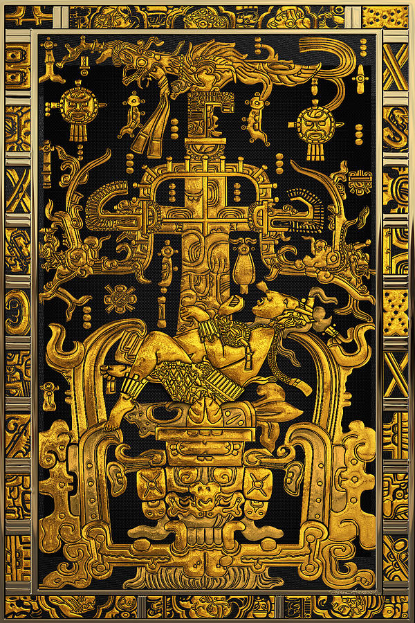 Lid of The Great Tomb of Pakal - Gold Palenque Astronaut over Black No.1 by Serge Averbukh