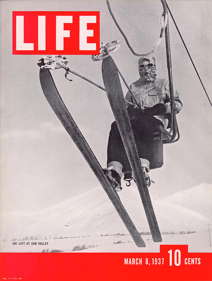 Life Cover 03-08-1937 Skier Riding The Photograph by Alfred Eisenstaedt