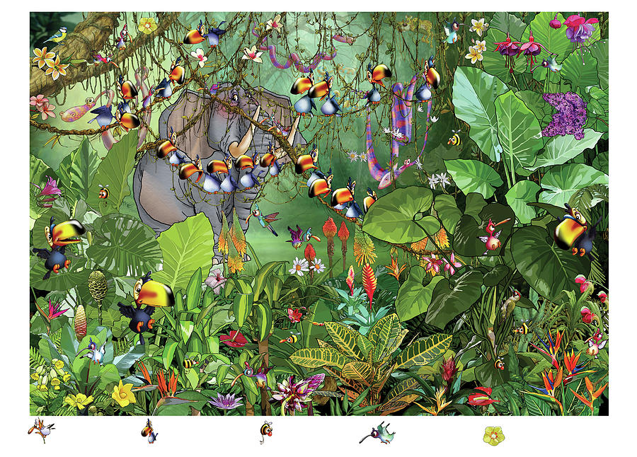 Tropical Painting - Life In The Jungle 1 by Francois Ruyer