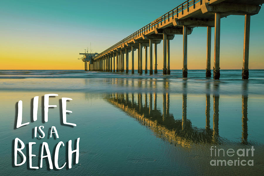 Life is a Beach Scripps Pier La Jolla San Diego by Edward Fielding