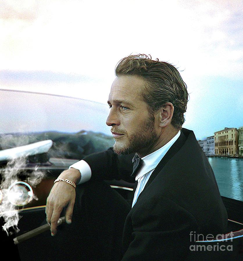Paul Newman Mixed Media - Life Is A Journey, Paul Newman, Movie Star, Cruising Venice, Enjoying A Cuban Cigar by Thomas Pollart