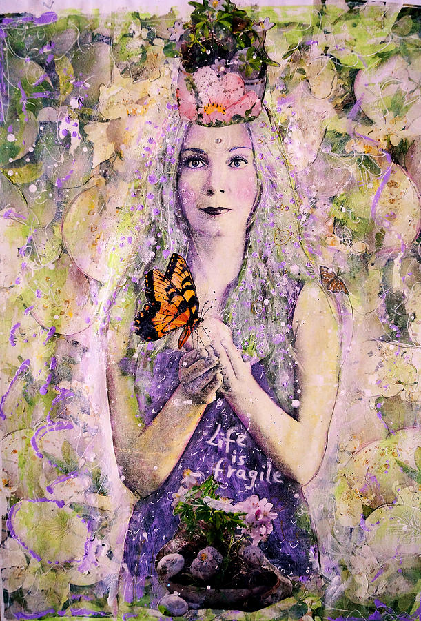 Divine Feminine Painting - Life Is Fragile by Lila Violet