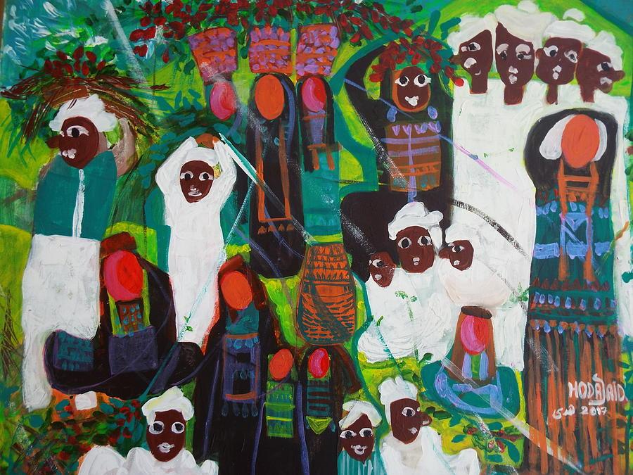 Nubians Painting - Life of Nubians by Hoda Said Ibrahim