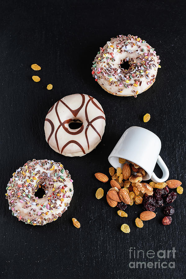 Life style of  sweet donut natural nuts and dried fruits by Marina Usmanskaya
