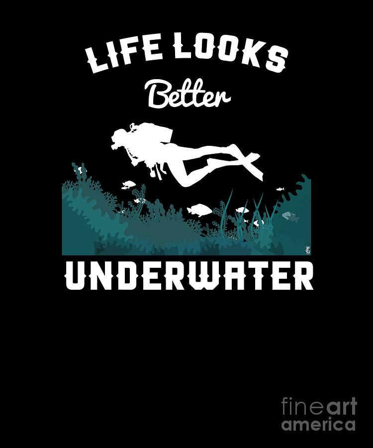 Surfing Digital Art - Life Underwater Scuba Diving Diver Marine Freediver Oceans Sea Gift by Thomas Larch