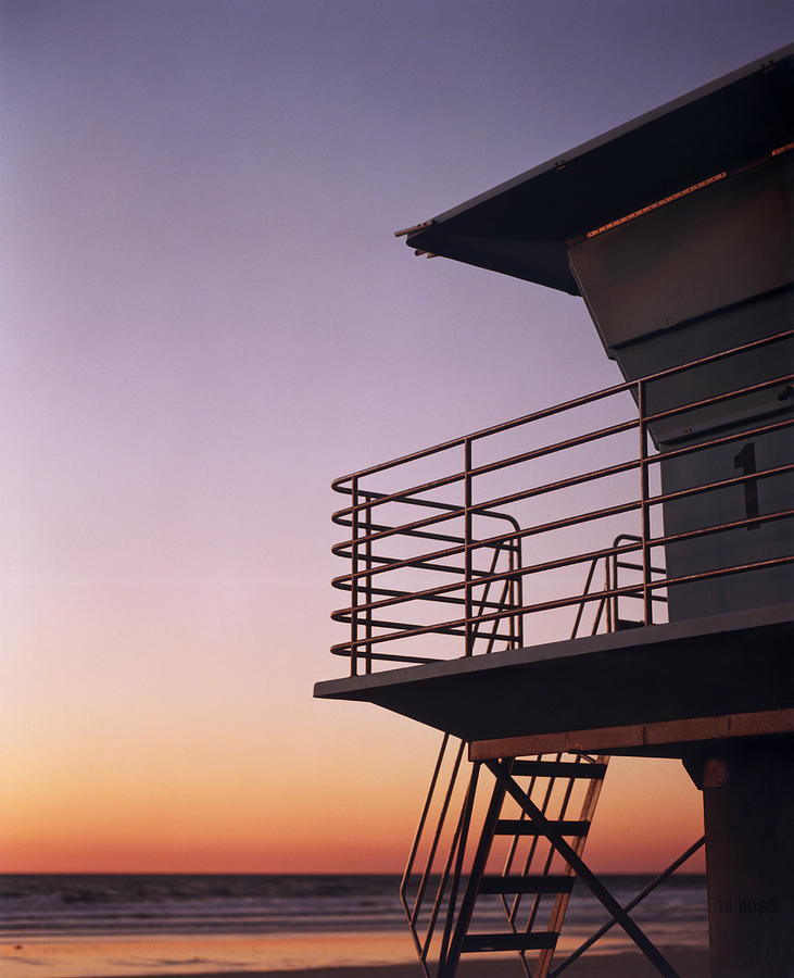 Lifeguard Stand On Beach At Sunset Photograph by Lisa Romerein