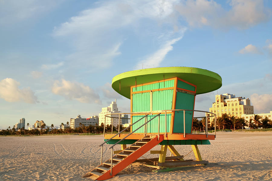 Lifeguard Station At Dawn, South Beach Photograph by Travelif