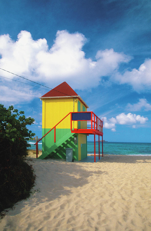 Lifeguard Tower On Deserted Beach On Photograph by Medioimages/photodisc