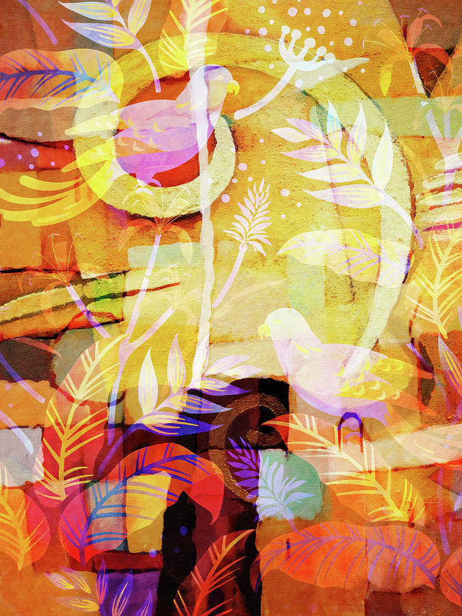 Birds In Paradise Painting - Light Birds by Lutz Baar