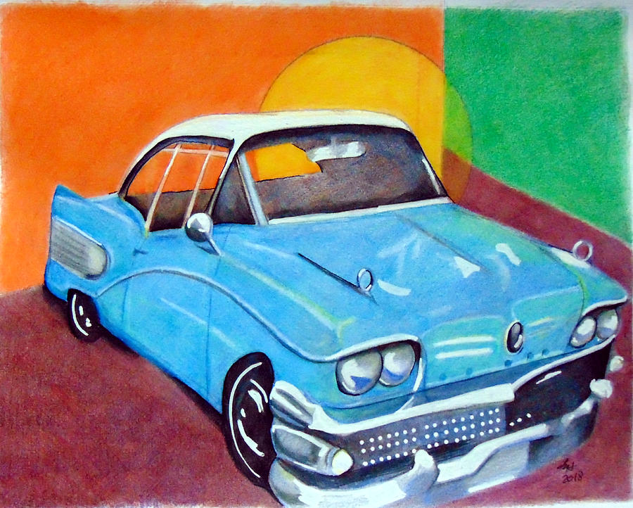 Light blue 1950s car  by Loretta Nash