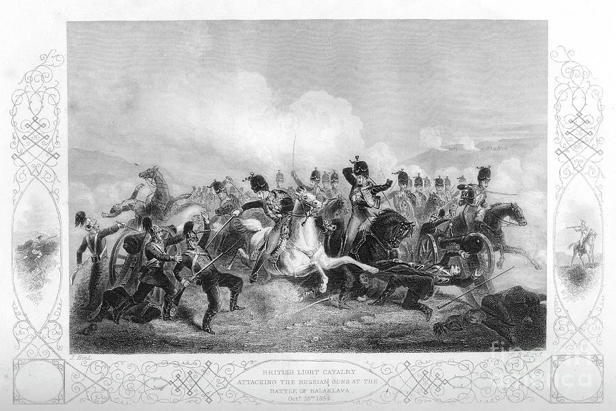 Light Cavalry Attacking The Russian Drawing by Print Collector