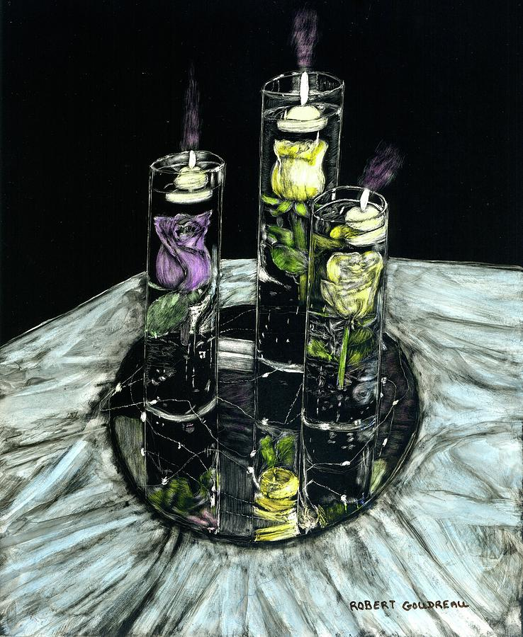 Floating Candles Painting - Light of my Life by Robert Goudreau