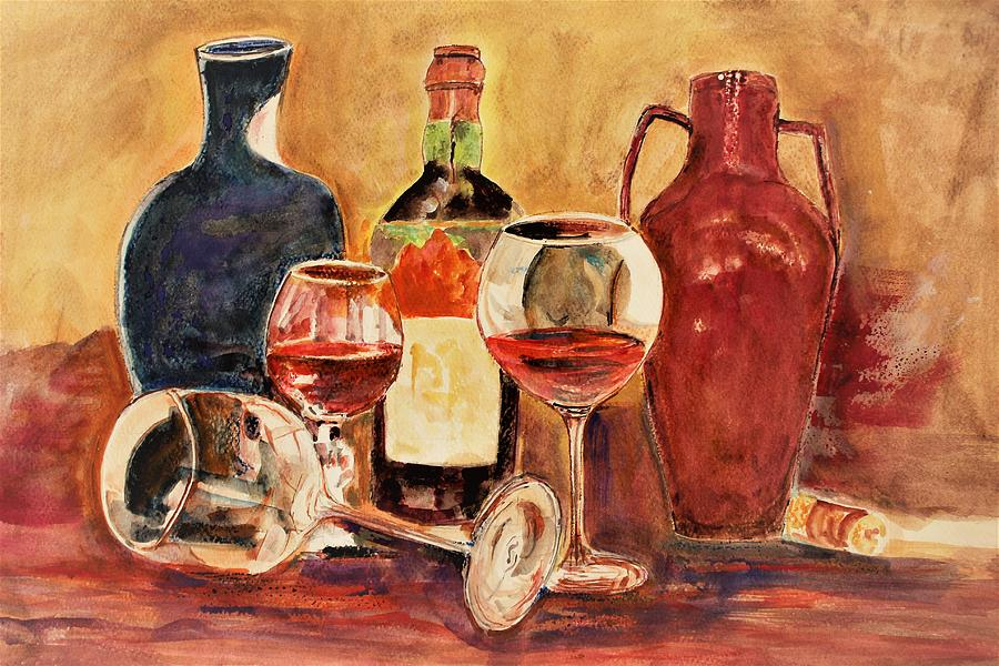 Still Life Painting - Light On Glasses by Khalid Saeed