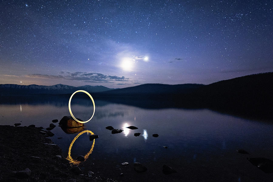 Light Painting Lake McDonald by Jake Sorensen