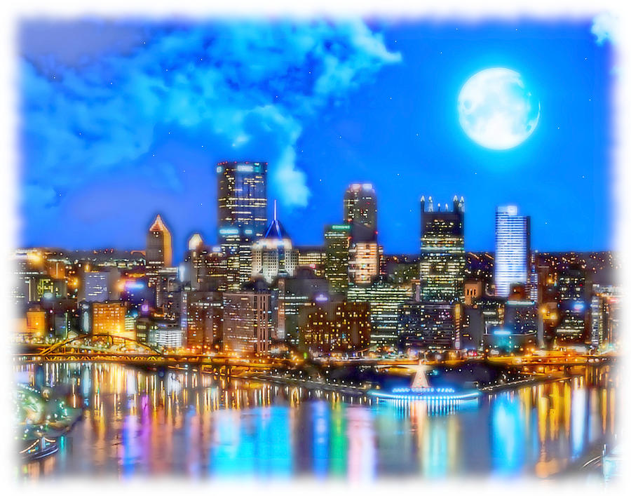 Pittsburgh Painting - Light Up Night in Pittsburgh by Charles Ott