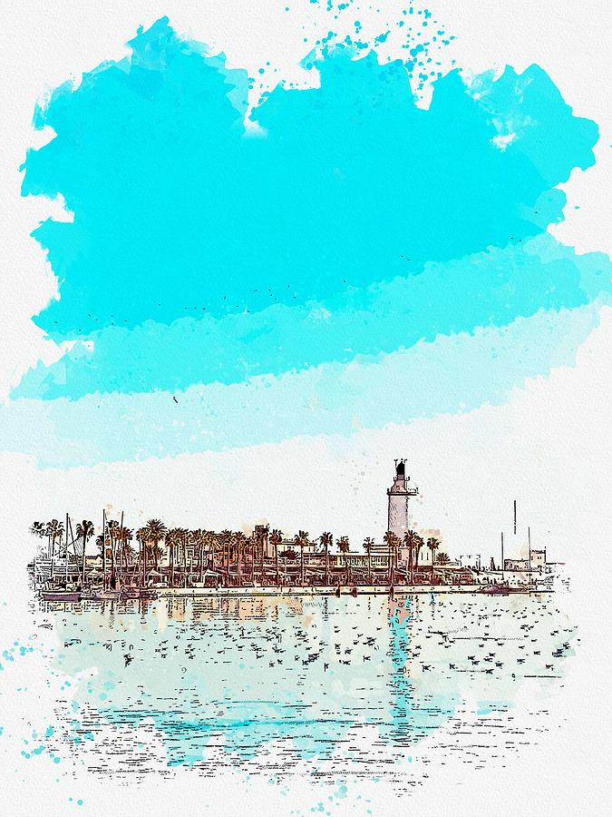 Lighthouse Painting - lighthouse 9, watercolor by Adam Asar by Adam Asar