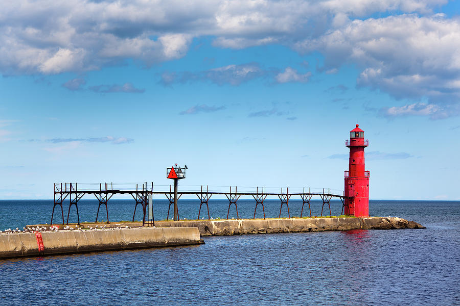 Lighthouse And Pier On Lake Michigan Photograph by Jamesbrey