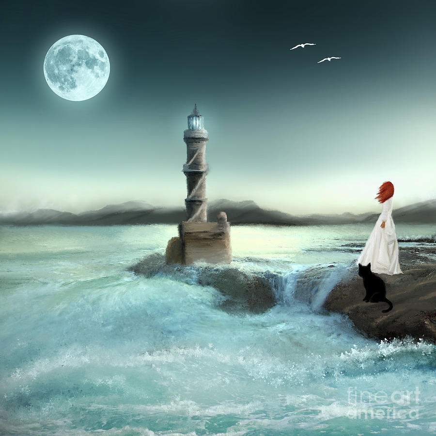 Lighthouse at Full Moon by Anne Vis
