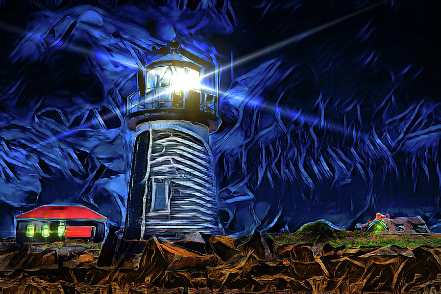 Lighthouse at Night by Carlos Diaz