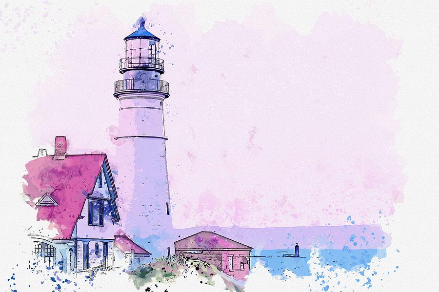 Lighthouse Painting - Lighthouse, Cape Elizabeth, United States -  Watercolor By Ahmet Asar by Ahmet Asar