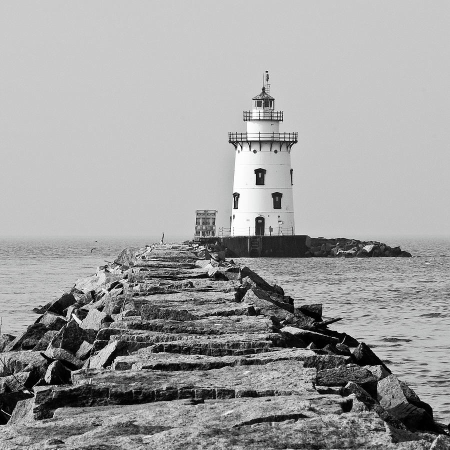 Lighthouse In Black And White Photograph by Maryann Flick