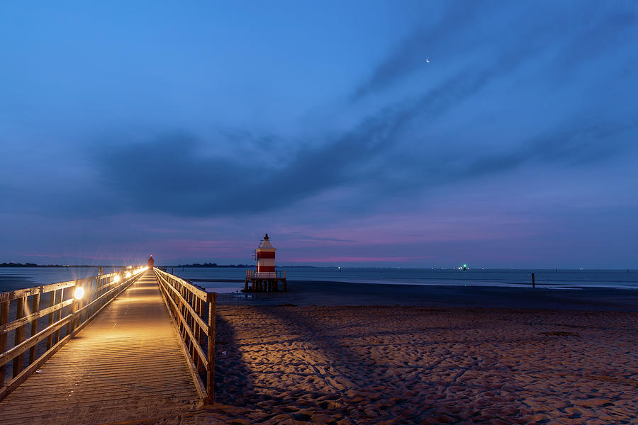 Lighthouse Lights At Morning Twilight by Nicola Simeoni