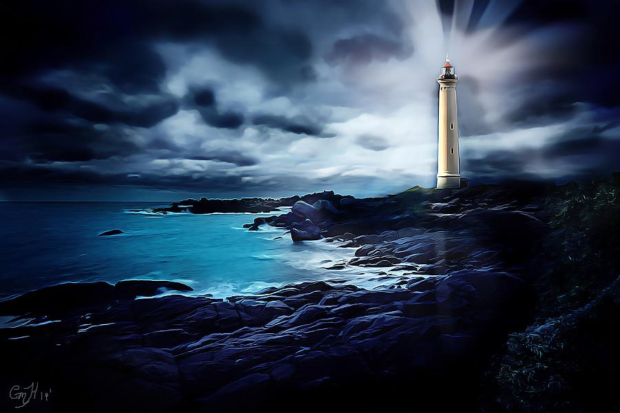 Oil Painting - Lighthouse My Way by Christina M Hale
