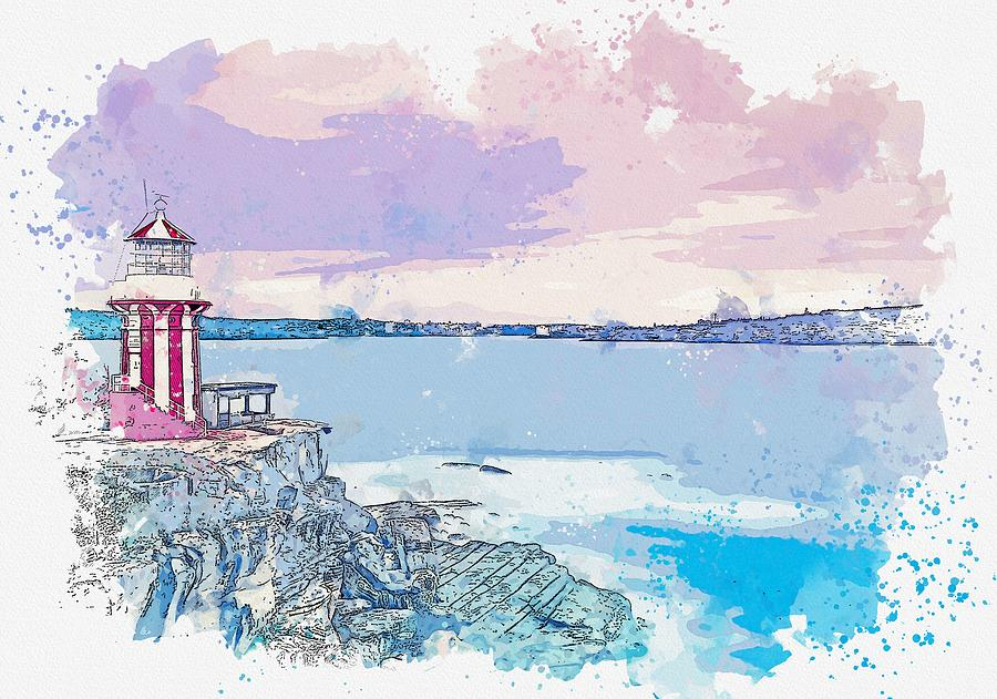 Lighthouse Painting - Lighthouse, Sydney, Australia -  Watercolor By Ahmet Asar by Ahmet Asar