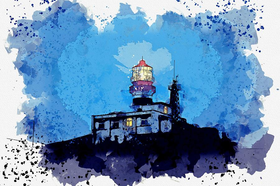 Lighthouse Painting - Lighthouse, Watercolor, C2019, By Adam Asar - 19 by Adam Asar