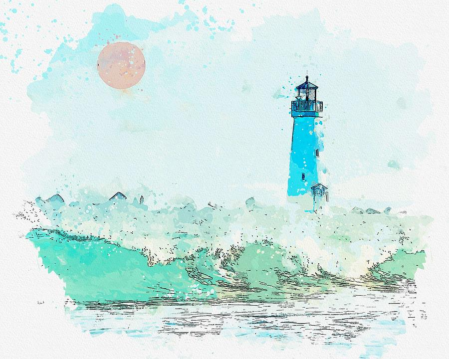 Lighthouse, Watercolor, C2019, By Adam Asar - 2 Painting