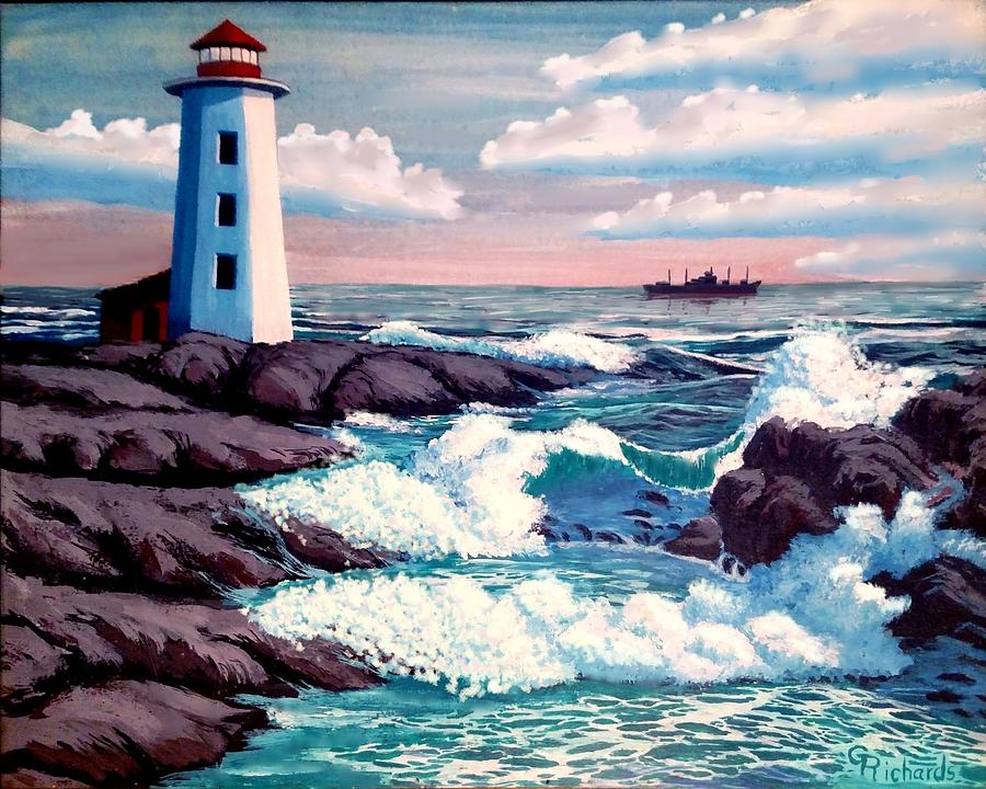 Lighthouse Waves Painting