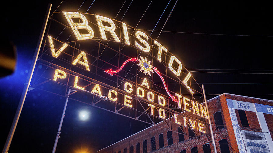 Bristol Photograph - Lighting Up The Bristol Sign by Greg Booher
