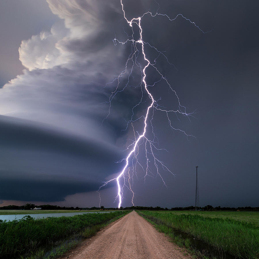Lightning Bolt From A Super-cell Photograph by John Finney Photography
