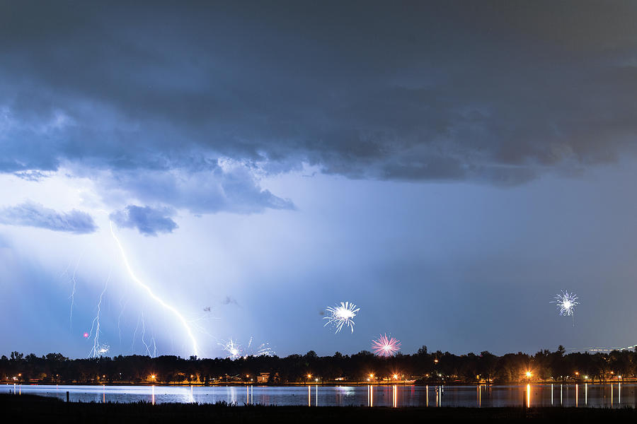 Lightning Strike and Fireworks by James BO Insogna