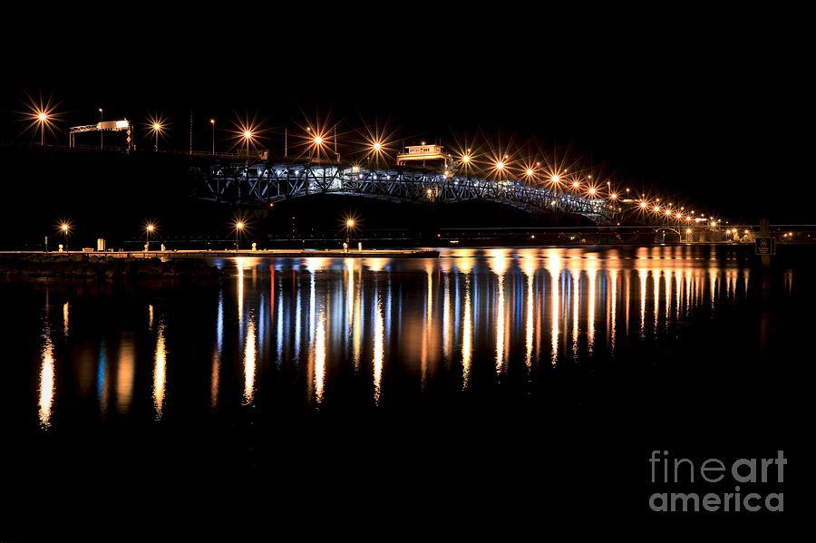 Lights at Coleman Bridge by Lara Morrison