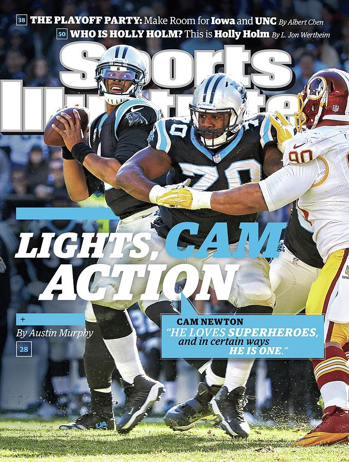 Lights, Cam Action Cam Newton Sports Illustrated Cover Photograph by Sports Illustrated