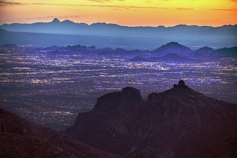 Lights of Tucson at Twilight  by Chance Kafka