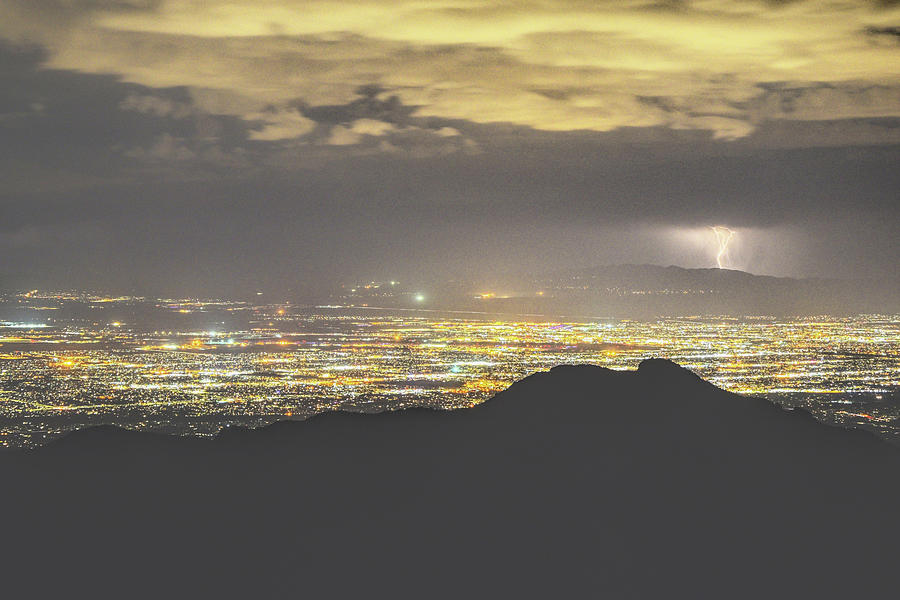 Lights of Tucson from Windy Point Lightning  by Chance Kafka
