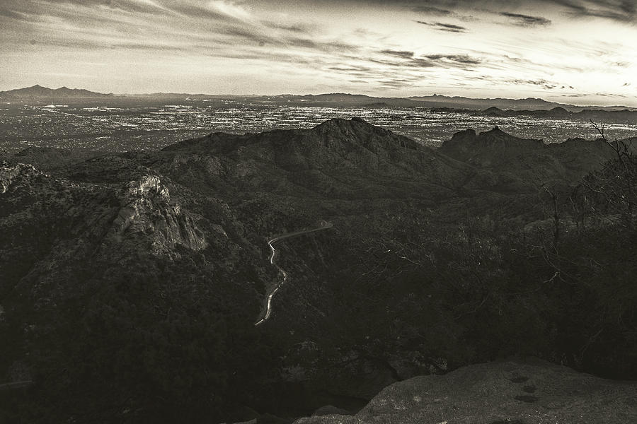 Lights of Tucson Sepia  by Chance Kafka